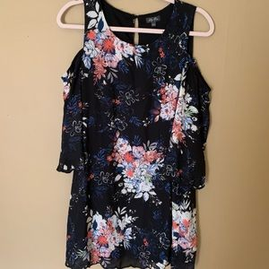 Lily rose cold shoulder black floral dress